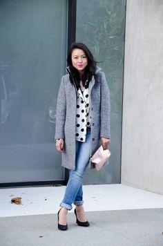 2013 HM Jacket, Mink Pink Shirt ), J.Crew Factory Jeans, Marc Jacobs x Target Clutch,  Mossimo Heels