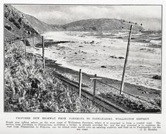 proposed highway PAREMATA to PAEKAKARIKI - 10 July 1935  Rough seas rolling ashore on the west coast of Wellington Province where it is proposed to form a coastal raod. The section from Paremata to Plimmerton, including a bridge, is already provided for and the new proposal us to continue tht road from Plimmerton to Pukeura, via and inland route partly over an existing roadway and then on to Paekakariki, via the seac coast Auckland Weekly News 10 July 1935 Rough Seas, Opening Day, Auckland, What Is Like, Good Old, Funeral, West Coast, Railroad Tracks, Proposal