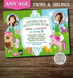 Items Similar To YOU CHOOSE Puppies Invitation Unicorn Toy Story Cars Twins Invite Invitations For Or Siblings