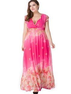 Plus Size V Neck Chiffon Women s Maxi Dress. Robe femme ete 2017 Women  Summer Chiffon Floral Dress Sexy ... bf725d138d48