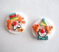 Button Clowns handmade polymer clay buttons  2  by digitsdesigns, $5.25