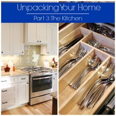 Tips for unpacking and organizing your kitchen, broken down by kitchen work zone and layout by All Things G&D  #allthingsgd