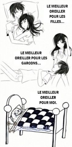 "Le meilleur oreiller pour ""The best pillow for girls, for boys . for me. Funny Facts, Funny Quotes, Funny Memes, Funny Pins, Rage Comics, Funny Comics, Girls Problems, Humour Couple, Troll Meme"