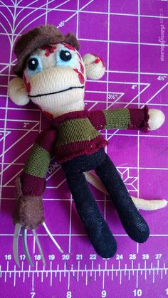 Freddy Krueger  Mini 6 Sock Monkey Plush Doll  No by REBELalaMODE, $35.00