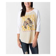Prince Peter American Rebel T-Shirt ($30) ❤ liked on Polyvore featuring tops, t-shirts, khaki, raglan t shirt, ripped t shirt, american tees, graphic tees and american t shirt