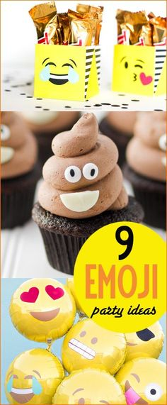 9 Emoji Party Ideas. Great party theme for tweens. Fun ways to express your emotions with emoji party supplies, party food and party decorations. Delicious emoji poop cupcakes!