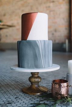 Minimalist and Modern White, Gray, and Metallic Wedding Cake | Brides.com