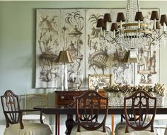 Amy Morris Interiors included Niermann Weeks Campaign Chandelier in this traditional dining room.  niermannweeks.com #NiermannWeeks