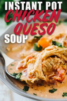 This Queso Chicken soup can be made in the instant pot or crock pot and is perfect if you're eating keto or low carb. It's cheesy and filled with green chilis. You can even add black beans if you don't mind the extra carbs! #queso #instantpot #chickensoup