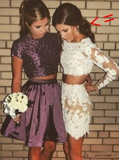 2018 White Lace Homecoming Dress,Two Pieces Short Prom Dress,Long Sleeves See Through Homecoming Dress