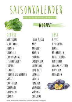 Saisonkalender August - Den praktischen PDF-Download findest du auf dem Blog! | Projekt: Gesund leben | Clean Eating, Fitness & Entspannung