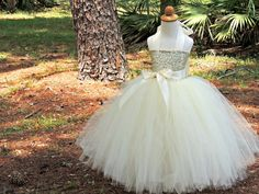 Ivory Sequin Tutu Dress Sequin Flower Girl Dress by Gurliglam