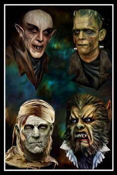 Vampire werewolf frankenstein mummy