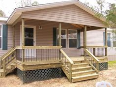 Like the look of an add on roof and porch to break up the front of long trailer house. DIY Mobile Home Porch Decks Remodeling Mobile Homes, Home Remodeling, House Renovations, Terrasse Mobil Home, Mobile Home Porch, Porch Kits, Porch Ideas, Yard Ideas, Building A Porch