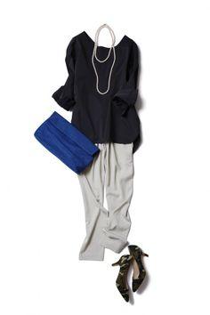 アイスグレーの技ありパンツで始める、大人リラックスな新生活 ― B - ファッションコーディネート通販|ビストロ フラワーズ トウキョウ