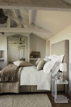 French inspired bedroom with mushroom linen headboard bed, ...