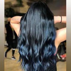 20 Awesome Blue Black Hair Looks To Raise Charm Pretty Hair Color, Beautiful Hair Color, Hair Color For Black Hair, Raven Hair Color, Black Hair With Blue Highlights, Long Black Hair, Pretty Hairstyles, Hairstyle Ideas, Balayage Hair