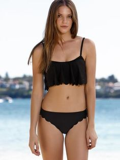 Negro Cami Volantes Set Bikini
