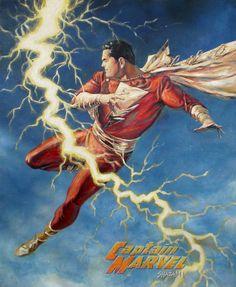 DC (Detective Comics): Shazam/Captain Marvel by Alex Ross Captain Marvel Shazam, Mary Marvel, Original Captain Marvel, Marvel Vs, Marvel Dc Comics, Shazam Comic, Comic Book Artists, Comic Book Heroes, Comic Books Art