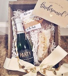 """BRIDESMAID PROPOSAL BOX """"MUST HAVES"""" 1. Stemless champagne flute with each girl's name. 2. Personalized mini bottles of bubbly with labels from @shoplabelwithlove 3. Matching straws to sip bubbly when they pop to say """"yes"""" 4. """"Help me tie the knot"""" hair ties ♀️ 5. A card to write a special note to each of your faves Thank you @rachsmith () for including us in your carefully curated bridesmaid boxes! We being a part of your special wedding planning memories."""