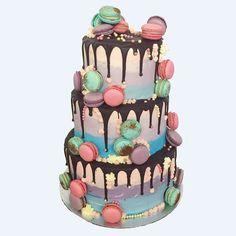 Rose Quartz Serenity Macaron Wedding Cake by Anges de Sucre. #weddingcakes