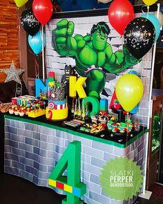 HULK Super heros Bitrhday cake, sweet table by Slatki Perper 0649997000 Hulk Birthday Cakes, Hulk Birthday Parties, Birthday Party Tables, Superhero Birthday Party, Birthday Party Decorations, Superhero Party Activities, Incredible Hulk Party, Avengers Birthday, Baby Boy 1st Birthday