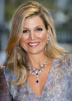 "On September 5, 2017, Queen Maxima of The Netherlands attended a gala dinner held for the benefit ""Princess Maxima Center for Children's Oncology"" at the Royal Concert Hall in Amsterdam, Netherlands. Queen Maxima wore a organza printed wide sleeves maxi dress by Luisa Beccaria Spring 2017 RTW collection at the gala dinner."