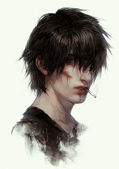 Imagen de digital art and anime boy - Art Male Character, Character Design Cartoon, Digital Portrait, Digital Art, Arte Emo, Darkside, Boy Art, Fantasy Characters, Special Characters
