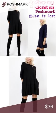 """BOGO 50% OFF Black 3/4 Sleeve Swing Tunic 3/4 Sleeve Swing Tunic  Color is Black - BODY LENGTH: 32""""  - BUST: 37 1/2 approx.- MEASURED FROM SMALL  Fabric Content: 93% RAYON, 7% SPANDEX Tops Tunics"""