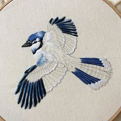 34 Ideas Bird Embroidery Designs Fabrics For 2019 Embroidered Bird, Crewel Embroidery, Cross Stitch Embroidery, Embroidery Patterns, Machine Embroidery, Embroidery Thread, Contemporary Embroidery, Thread Painting, Satin Stitch