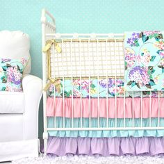 Caden Lane Baby Bedding - Holly's Hydrangea Ruffle Baby Bedding | Bumpers Option, $172.00 (http://cadenlane.com/hollys-hydrangea-ruffle-baby-bedding-bumpers-option/)