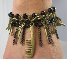 Back in Stock!!! Hairdresser Charm Bracelet in Bronze  with by Unfeather by Robyn,