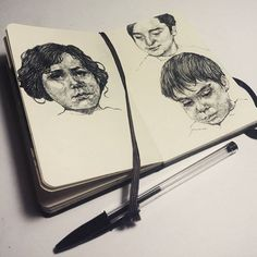 Progress, new 2 pages from my notebook while I am working on new projects with wood, coming up soon 😊 #art #artist #drawing #sketch #pages #ink #study #practice #composition #pen #ballpoint #ballpointpen #hand #progress #moleskine #notebook #sketchbook #faces #vintage #realism #graphic #illustration #blackandwhite #monochrome #marco