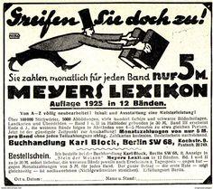 Original-Werbung/ Anzeige 1925 - MEYERS LEXIKON / KARL BLOCK - BERLIN - Ca.  110 X 90 Mm - Werbung