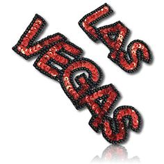 Beautiful & Custom x Inch} 1 of [Sew-On & Glue-On] Embroidered Applique Patch Made of Sequins & Beads w/Original Sin City Las Vegas City Name w/Christmas Holiday Shade Style {Red, Black} Las Vegas City, Sin City, Sew On Patches, Rain Wear, Sewing Techniques, Red Black, Christmas Holidays, Applique, Sequins
