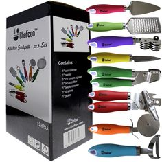 Amazon.com: 8 Pieces Kitchen Gadget Tools Set by Chefcoo™ - Stainless-Steel Utensils Chef Cooking Set - Peeler, Knife, Pie Server, Can Opener, Pizza Cutter, Grater, Knife Sharpener & Garlic Press: Kitchen & Dining