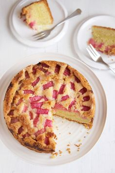 Rhubarb Custard Tea Cake ... version 2! Recipe without custard powder.