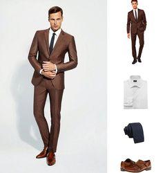 Designer Mad Men Look for Less Gq Fashion, Mens Fashion Suits, Mens Suits, Brown Tweed Suit, Tweed Suits, Brown Suit Wedding, Wedding Suits, Denim Shirt Style, Blue Denim Shirt
