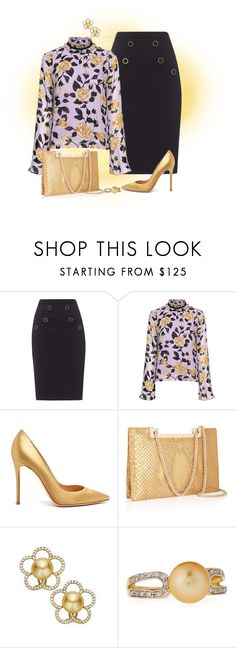 """""""Sin título #1882"""" by marisol-menahem ❤ liked on Polyvore featuring Somerset by Alice Temperley, Ganni, Gianvito Rossi, Valentino and Belpearl"""