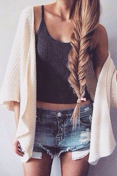 Rock your inner California Girl look with this effortless fishtail braid, denim shorts, black knit tanks, and cream cardigan!