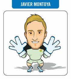 """Caricatura de Javier Montoya. Jugador del R. Betis Balompié """"B""""."""