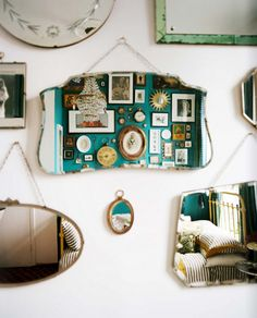 (from ben brougham - antique mirrors and collage wall).  i've got a ton of tacky, thriftstore finds and the perfect wall....