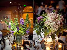 Whimsical wedding reception decor and flowers- purple, green, light pink floral table centerpieces w