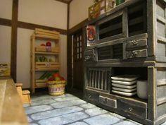 Miniature 1/20 scale Japanese tansu kitchen cabinet. Part of the kit.  #japanese #ryokan #dollhouse
