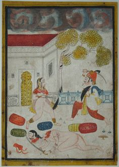 The aulterous wife fights for her life. Marwar, circa mid-19th century. Opaque watercolour with silver