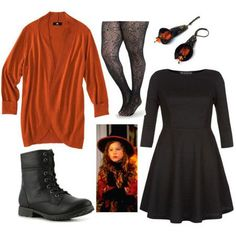 A fashion look from October 2013 featuring fit flare dress, mossimo cardigan and patterned pantyhose. Browse and shop related looks. Cute Halloween Costumes, Happy Halloween, Halloween Clothes, Halloween 2018, Halloween Treats, Diy Halloween, Hocus Pocus Characters, Hocus Pocus Costume, Fandom Outfits