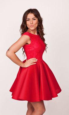 ade416af9a Sukienkowo.pl - Sukienka rozkloszowana czerwona LAUREN. Wyjątkowe Sukienki