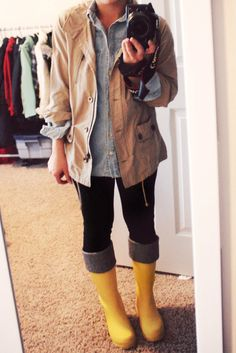 yellow rain boots  and chambray for rainy spring days