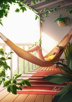 Chillin' At Home - Art Print - Wall Deco - Stay Home - Stay Cozy - Meditation Art - Hammock - Peijin Design Patio, Design Design, Alone Art, Meditation Art, Wow Art, Anime Scenery, Anime Art Girl, Cute Illustration, Aesthetic Art
