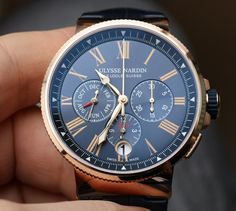 "Ulysse Nardin Marine Chronograph Annual Calendar Watch Hands-On - by Richard Cantley - more on aBlogtoWatch.com ""This year at Baselworld 2016, Ulysse Nardin presented the Marine Chronograph Annual Calendar Ref. 1533-150 (steel) and 1532-150 (18k red gold) series models with their new in-house UN-153 movement. This is yet another new annual calendar watch among a slew of many, but we think fans of the brand's slightly more classical timepieces will enjoy the refined overall looks..."""